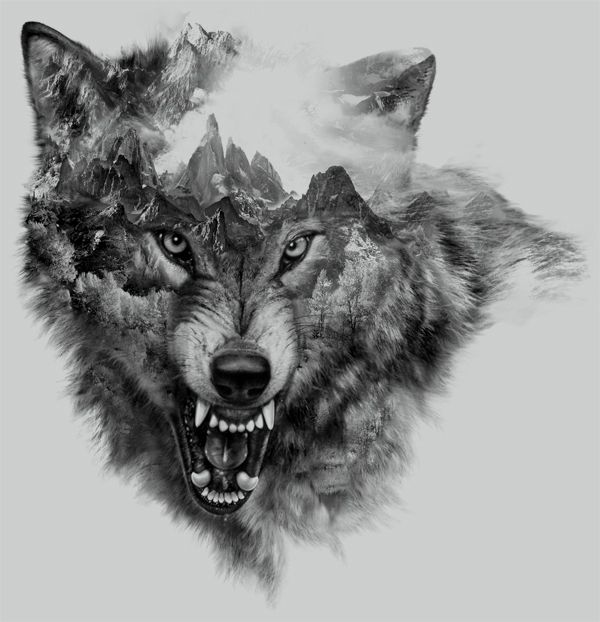 """Wolf Collage"" for t-shirt design by Eddie Yau 