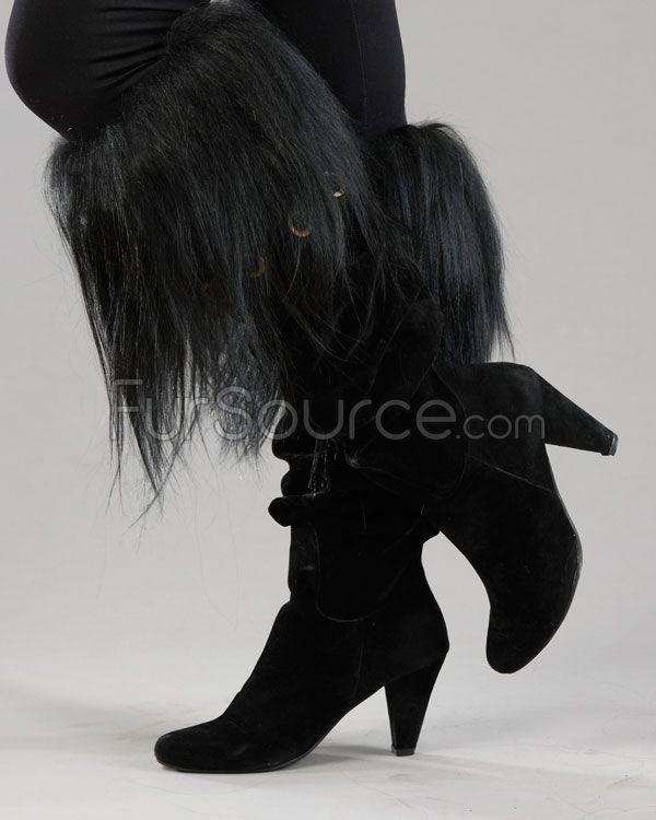 Boot Topper - Black Goat Fur