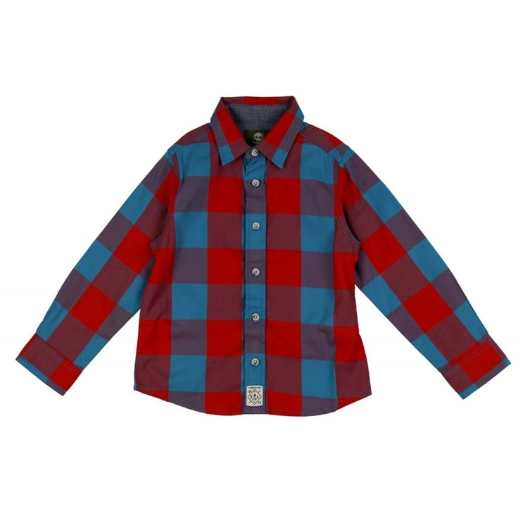 Boy's Turquoise Shirt with Red Check Print. Now available at www.chocolateclothing.co.uk