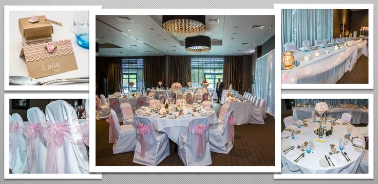 Baby pink colour schemed venue dressing. White chair covers and baby pink organza sashes. You can hire venue dressing like this at Natalija.Co Event Planning, find us on facebook, or visit our website, www.natalija.co.uk