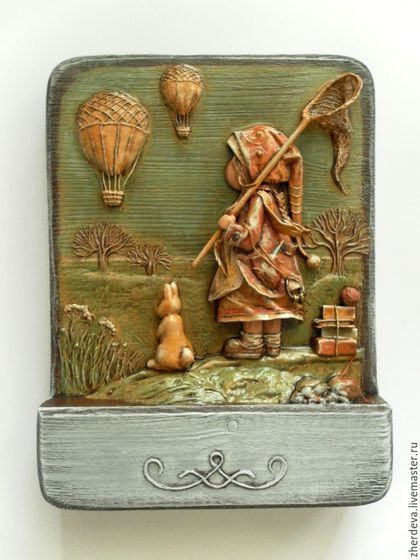 Bas-relief of the paper. Papier mache, wood, painting tempera. Author - Artist Zherdeva Maria.