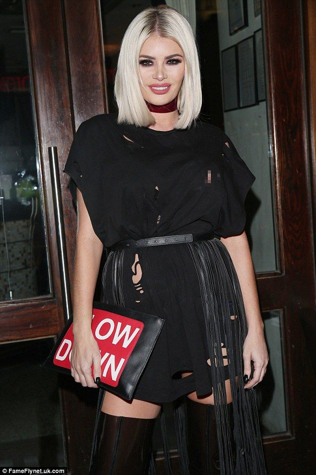 Oops! Chloe Sims celebrated her 35th birthday at London restaurant Little Italy on Wednesday night - and suffered the embarrassment of one of her nipples slipping through her dress