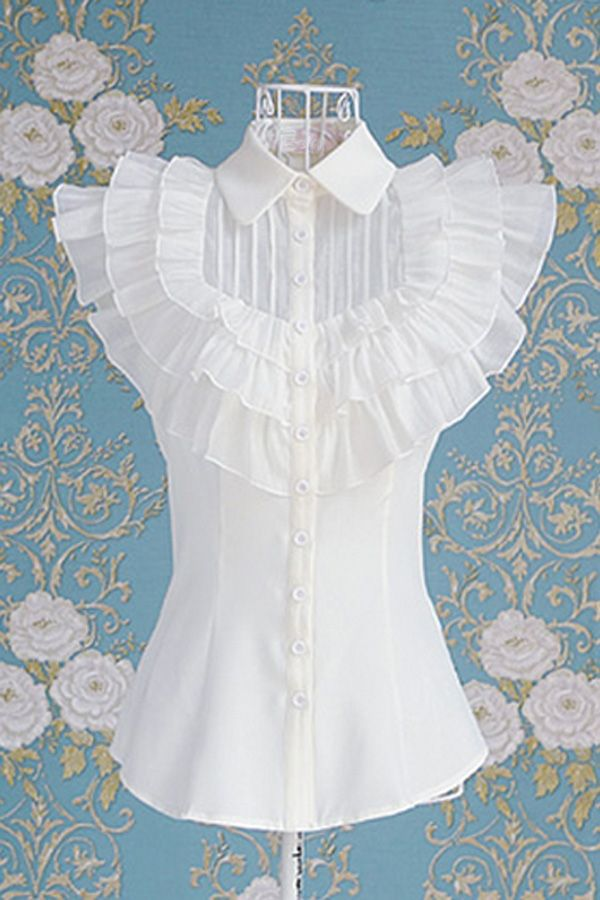 Gorgeous Poloneck Short Sleeve Flouncing Embellished Shirt - OASAP.com