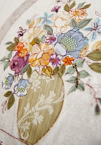 Paris embroidered wallpaper by Claire Coles
