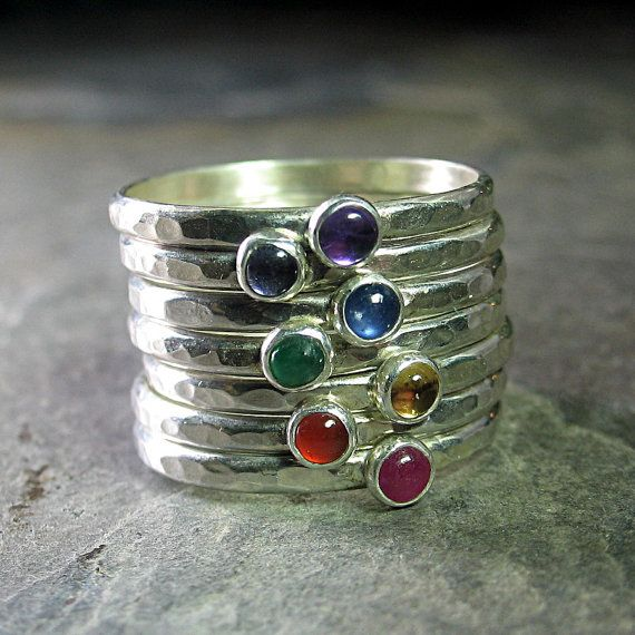 7 Chakras Stacking Rings sterling silver by LavenderCottage