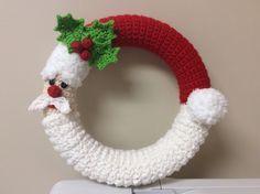 Crochet Santa Corona corona de invierno - la decoración Santa - Tutorial - crochet patrones - pdf-