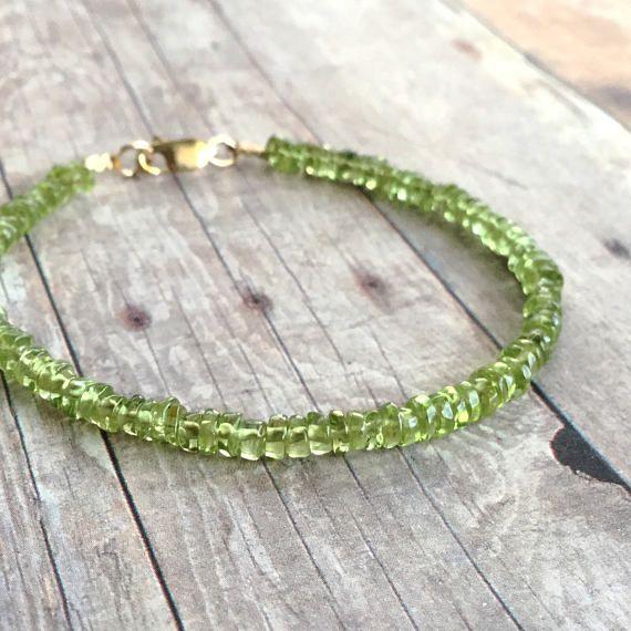 Green Peridot Bracelet / 14 K Gold Filled Jewelry / Natural Gemstone Jewelry / Women's or Men's Small Bead Gold Bracelet