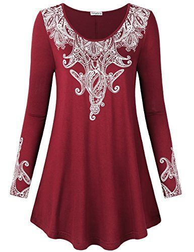 7e47e49cff45 Women Tunic Tops Long SleeveSUNGLORY Long Sleeve T Shirts for Ladies Solid  Cotton Tops Long Sleeve Fashion Loose Tops Knitted Tees Red wine M -- Find  out ...