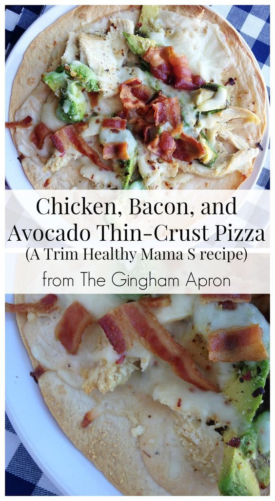Chicken, Bacon, & Avocado Thin-Crust Pizza- a low carb, easy dish from Trim Healthy Mama. Creamy and delicious!