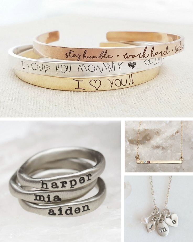 Unique personalized gift ideas for Mother's Day | Custom jewelry with your kids handwriting, names, initials, birthstones and more | Meaningful custom gifts for mom, nana or grandma from you, your kids (toddlers to teens) or grandkids. Buy her something she'll fall in love with this year! Thoughtful jewelry, keepsakes, kitchen, home and decor ideas. Also make great gifts for birthdays and the Holidays!