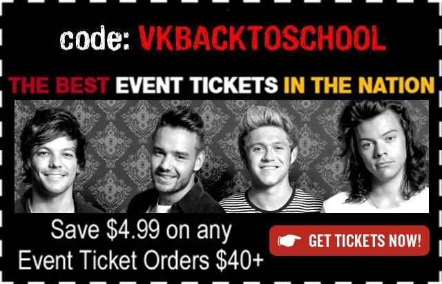 One Direction Tour 2015 Tickets.Save $4.99 off $40+ Code VKBACKTOSCHOOL