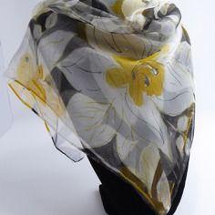 "Foulard gavroche en mousseline de soie peint main fleuri "" taormina """