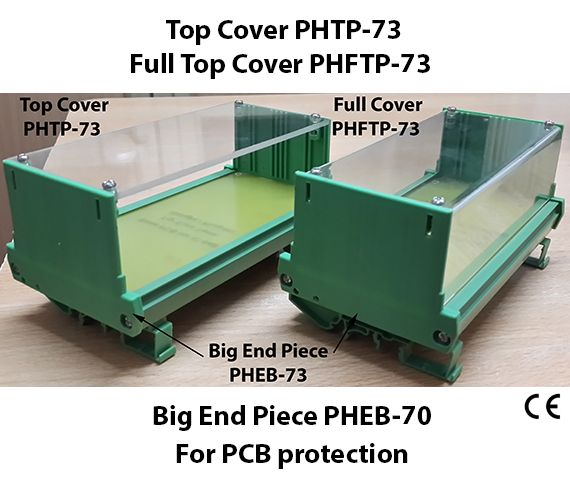 PCB Protection with Big End Piece & Covers Features Protection to PCB from other wiring, connectors & products mounted besides it in cabinet. Big End Piece protects along rail sides. Top Cover protects from top. Full cover protects from top and sides It provides finger protection Big end Pieces has guides for Vertical PCB Custom cutout on covers for I/O wires Online field maintenance, testing possible by just removing four screws of covers and fixing it back.