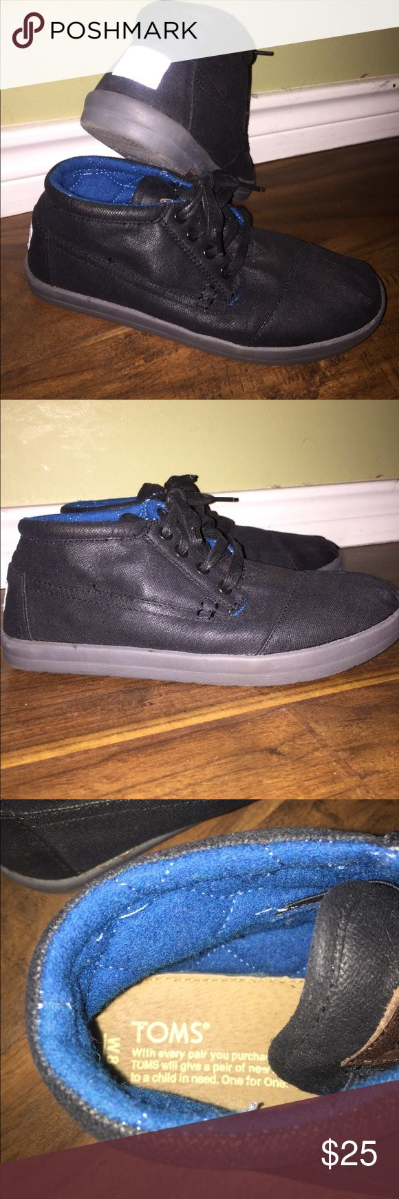 Toms Botas High Top Shoes Toms Botas High Top Shoes Color-Black w/teal blue insides Great Shape Size 8M Toms Shoes Sneakers