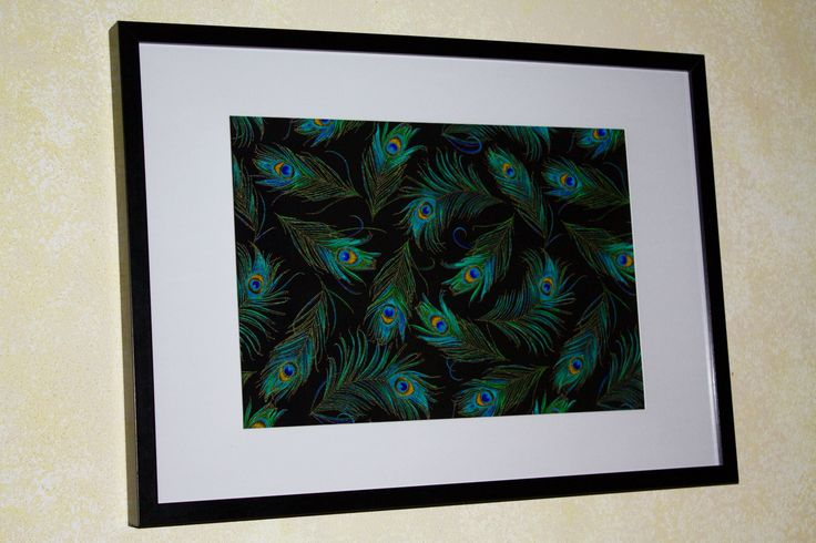 Enchanted Peacock Feathers By: Timeless Treasures Frame Size: 60cm x 42cm (Also available in 70cm x50cm)