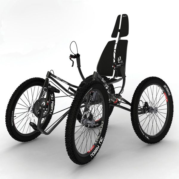 Quintessential Quadricycle    The StroM Bouqetin is unlike any other quadricycle design in that it's optimized for serious trail riding and touring. The rear-wheel drive, single-rider cycle features full independent suspension, dual shock rifles, a variable ball-gear drive, four disc brakes and a lightweight aluminum and carbon fiber body. Add some physical strength and you're ready to attack the off-road.    Designer: Martin Strohmeier