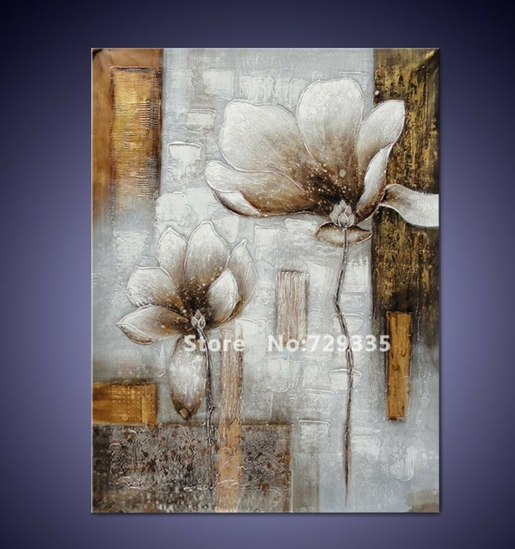 Free shipping Handpainted Canvas Wall Art Acrylic Abstract White Metal Flowers Painting Modern Home Decoration Picture $39.80