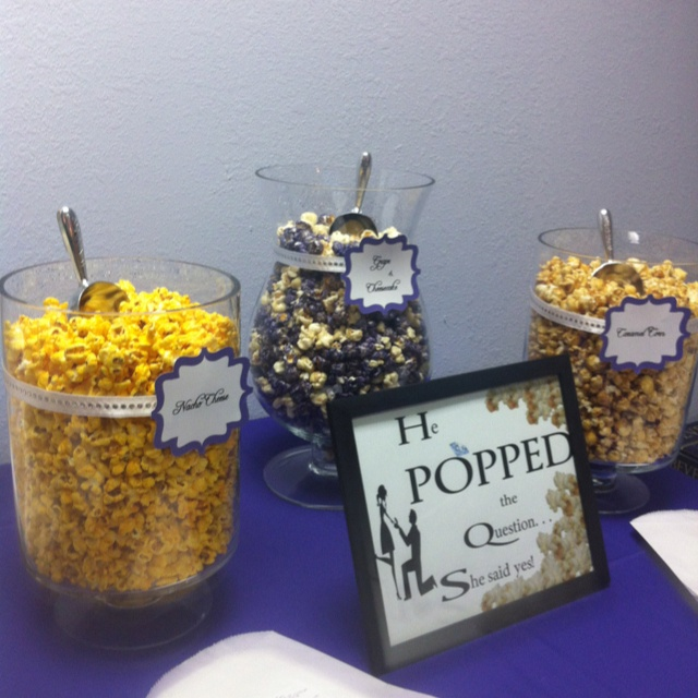 "Popcorn Bar ""He popped the question, she said Yes"""