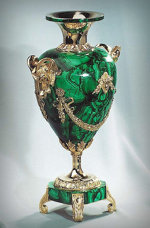Vase malachite, bronze.