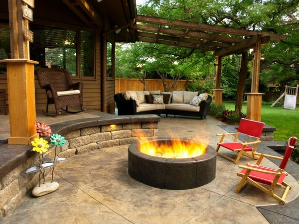 stamped concrete patio flooring ideas contemporary exterior firepit outdoor furniture patio designs