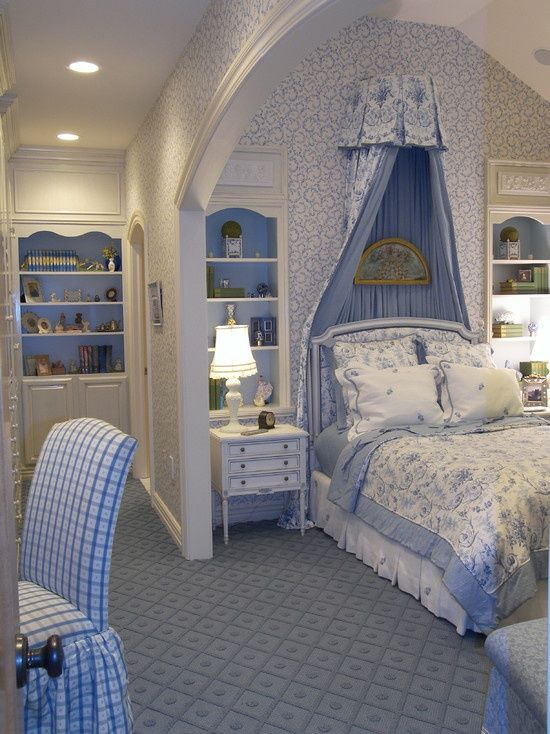Tween/ Teen Bedroom Interior Design and Decor Ideas plus color scheme. Love the built in shelving and the arched ceiling!