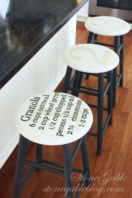 StoneGable: DETAILS... GIVING KITCHEN STOOLS NEW LIFE