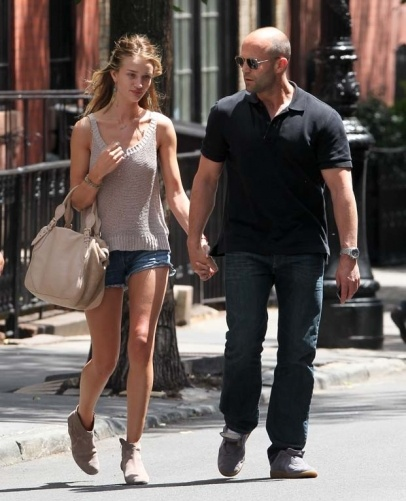 Jason Statham and Rosie Huntington-Whiteley seen leaving a restaurant in New York City, USA. On the way out they had a chat with Mickey Rourke.