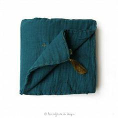 Couverture Gaze de Coton 80 x 110 cm Bleu Canard
