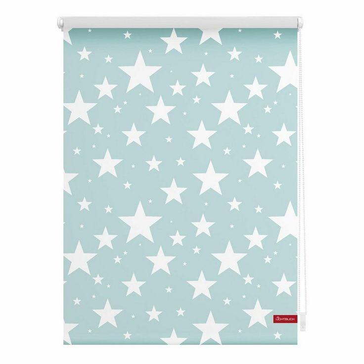 Seitenzugrollo, Lichtblick, »Klemmfix Dekor Sterne«, Lichtschutz, Fixmaß, ohne Bohren, blau