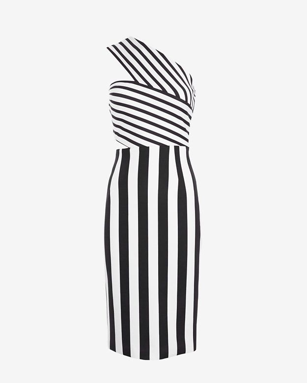 Cushnie et Ochs One Shoulder Striped Dress | Shop IntermixOnline.com