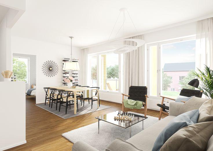 Helsingin Umbran olohuone (visualisointi) / Visualization of a living room in Helsingin Umbra