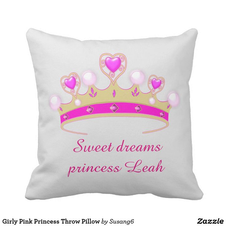 Girly Pink Princess Throw Pillow