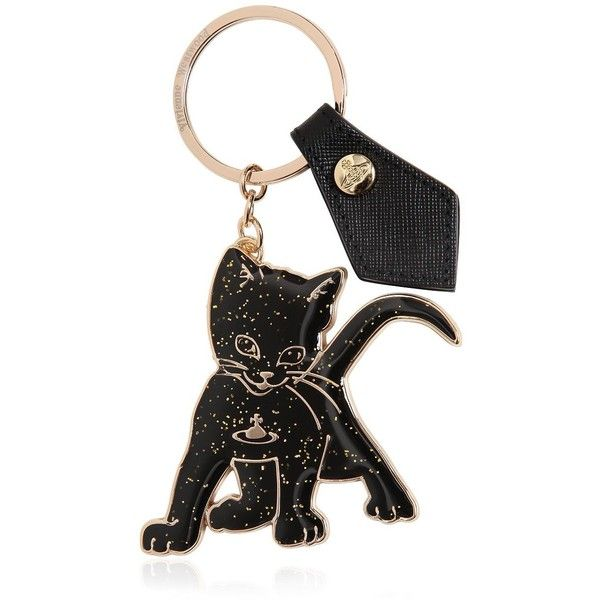 Vivienne Westwood Women Cat Brass Key Holder (89 CAD) ❤ liked on Polyvore featuring accessories, black, cat key ring, vivienne westwood, black key ring and brass key ring