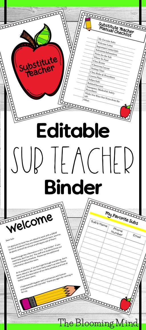 This is the ultimate Substitute Teacher Folder for Teachers! Make your sub feel comfortable and confident in your classroom! This binder includes 23 EDITABLE forms in both COLOR and BLACK and WHITE for easy copying.  Binder Cover and Spines Sub Teacher Folder Checklist List of My Favorite Subs Welcome Letter Important Contact Info Sub Info Notes for the Sub Where to Find Class Roster