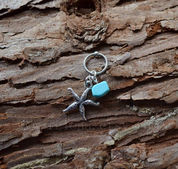 Silvery starfish CBR Captive Bead Ring Sea star starfish by Feiona