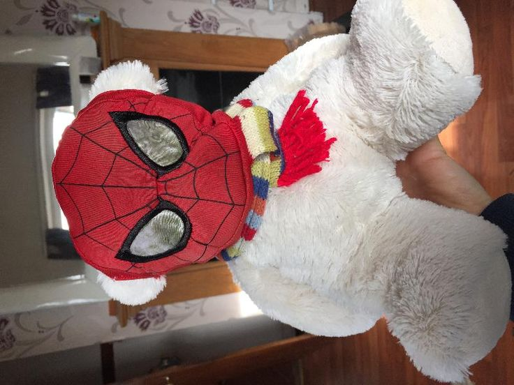 Found on 18 Oct. 2015 @ Wexford. White teddy bear with spider man mask and scarf. Found him washed up along the estuary near Wexford. Looked liked he'd been at sea a little while. Colourful sewn on scarf and wearing a spider man m... Visit: https://whiteboomerang.com/lostteddy/msg/1orlwq (Posted by Emma on 20 Oct. 2015)