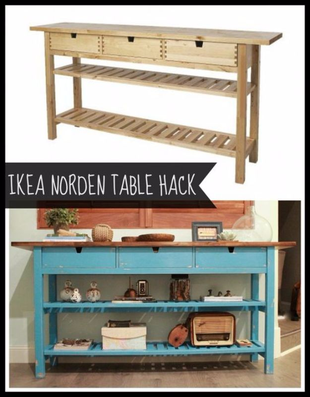 Best IKEA Hacks and DIY Hack Ideas for Furniture Projects and Home Decor from IKEA - IKEA Norden Table Hack - Creative IKEA Hack Tutorials for DIY Platform Bed, Desk, Vanity, Dresser, Coffee Table, Storage and Kitchen, Bedroom and Bathroom Decor http://diyjoy.com/best-ikea-hacks