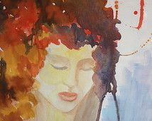 Mujeres # 2 Giclee print of original watercolor Abstract Painting