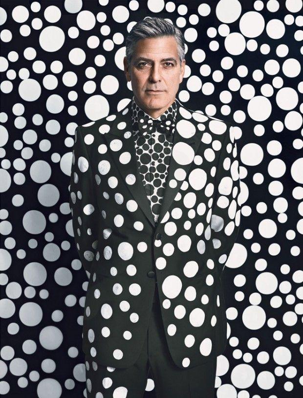 """George Clooney par Yayoi Kusama - L'artiste japonaise Yayoi Kusama qui vient de prendre la direction artistique du """"Magazine's Art Issue"""" a réalisé pour l.."""
