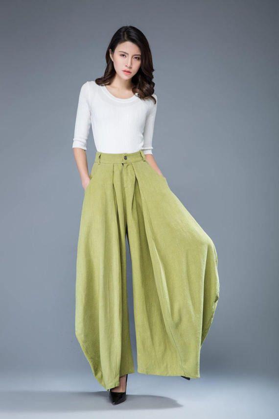 lime green pants loose fit pants wide leg pants women's