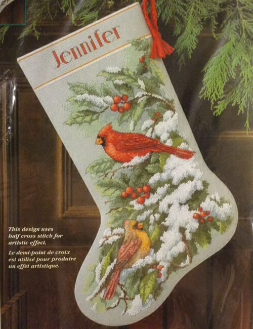 "Dimensions Counted Cross Stitch Christmas Stocking KIT ""Early Snow Cardinals""NEW #Dimensions #ChristmasStockingKit"