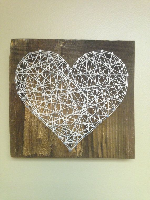 Heart String Art - Rustic Heart - String Art - Love - Nail Art - Rustic Wooden Board - Anniversary - Handcrafted - Wedding Gift - Home Decor