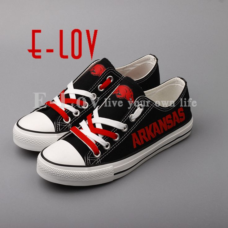E-LOV New Print Canvas Shoes Arkansas Razorbacks Painted Walking Shoes Students Gifts Graffiti Shoes Drop Shipping