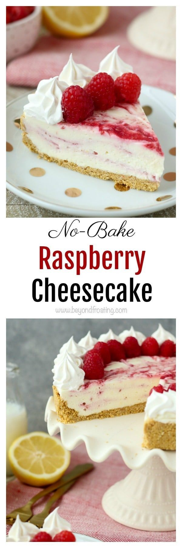 This is an easy and perfect summer dessert! The No-Bake Raspberry Swirl Cheesecake has a buttery graham cracker crust and layers of no-bake cheesecake and a fresh raspberry purée.