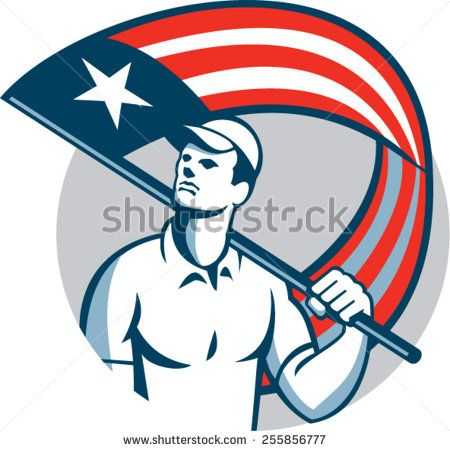Illustration of an American tradesman, handyman,patriot holding a USA stars and stripes flag on shoulder set inside circle on isolated white background.