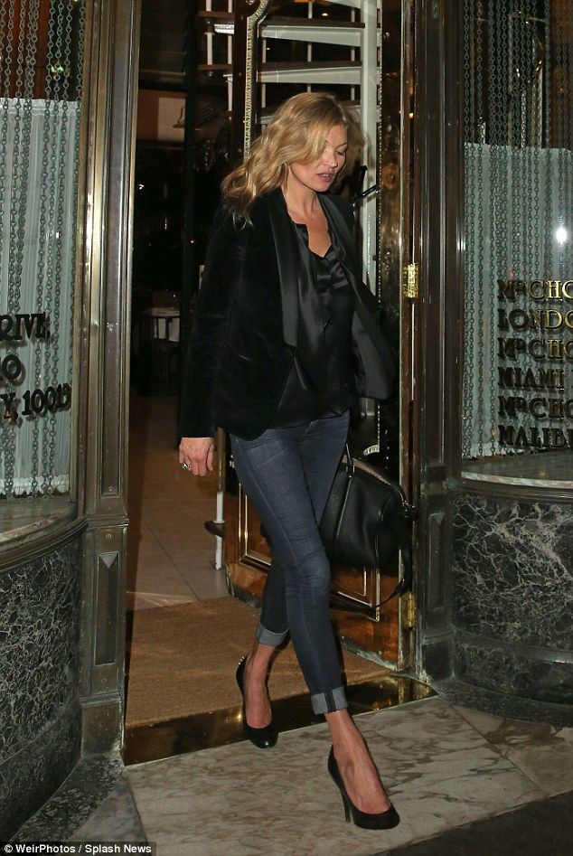 Looking good:Kate Moss wears a chic velvet jacket with skinny jeans and some black court ...