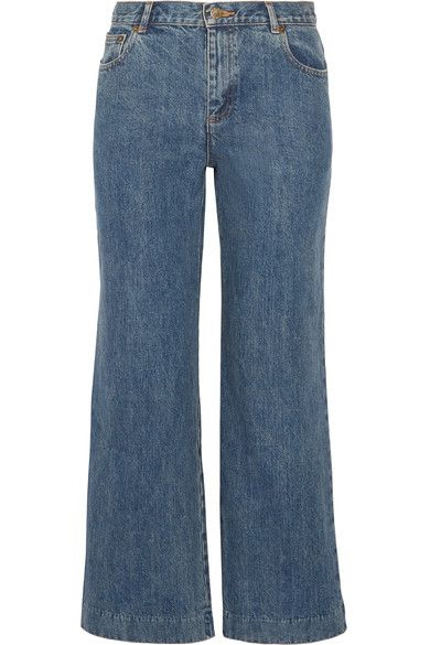 Blue denim  Button and concealed zip fastening at front  100% cotton Dry clean