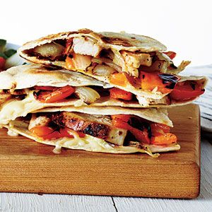Grilled Chicken and Vegetable Quesadillas | MyRecipes.com #myplate #protein #vegetables