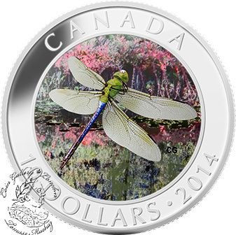 Coin Gallery London Store - Canada: 2014 $10 Green Darner Dragonfly Hologram Silver Coin, $79.95