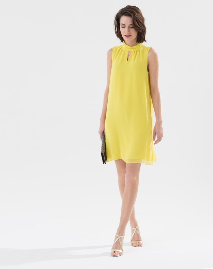 Robe jaune citron col montant Laurie Robes 1-2-3.fr